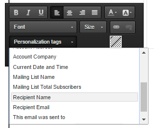 Personalization tags : Add the personalization tag through the Moosend Campaign Editor