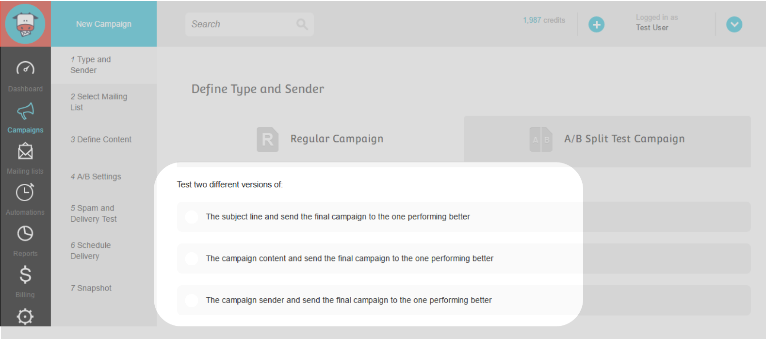 A/B Split Campaign Step 3 : Fill in email marketing campaign settings