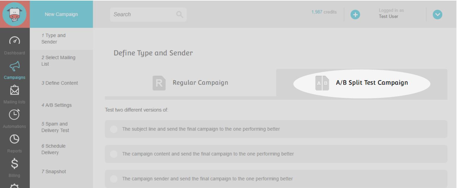 A/B Split Campaign Step 2 : Click on the tab to define campaign type
