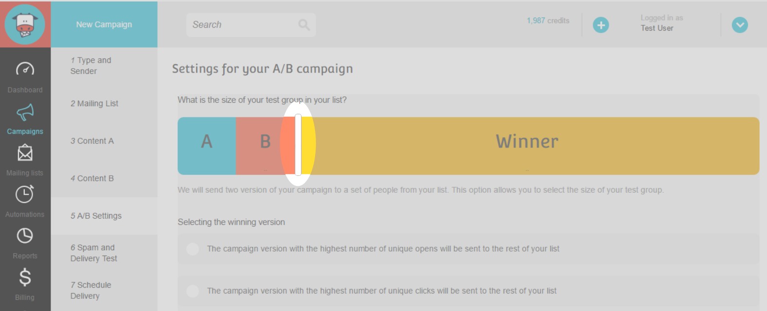 A/B Split Campaign Step 12 : Set test group and winner group