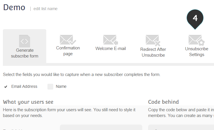 Unsubscribed Member Step 4 : Click on the unsubscribe settings tab