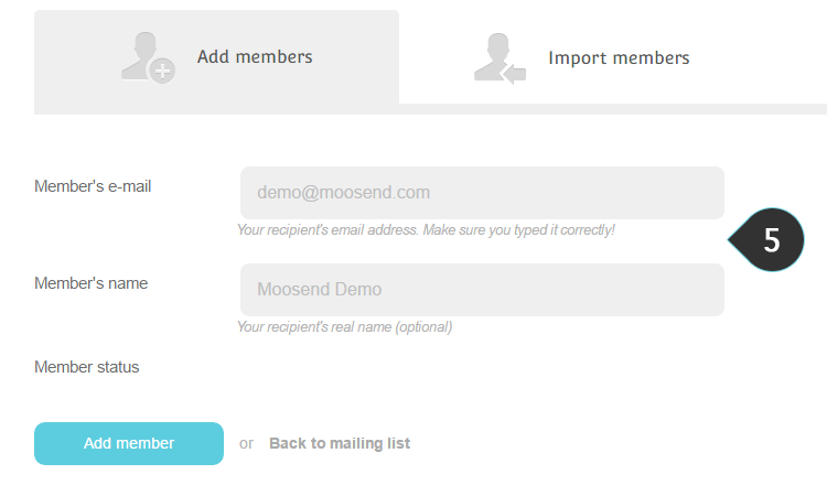 Add One member Step 5 : Type in member's details