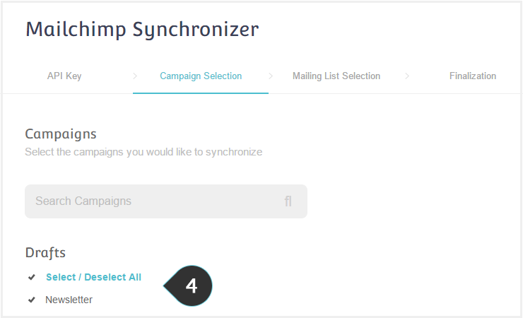 Sync your Mailchimp account to Moosend Step 4 : Select the campaigns you want to sync