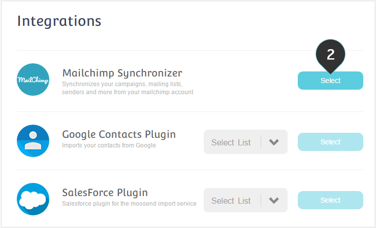 Sync your Mailchimp account to Moosend Step 2 : Click to Select the mailchimp synchronizer