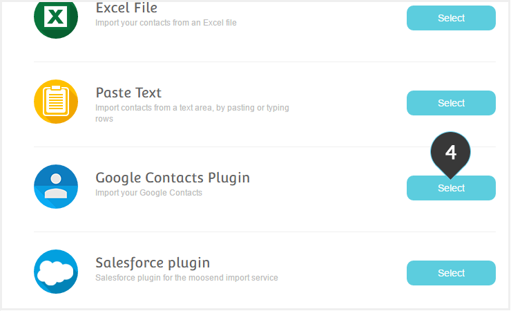 Import your Mailing List from your Google Account Step 4 : Select the google contacts plugin