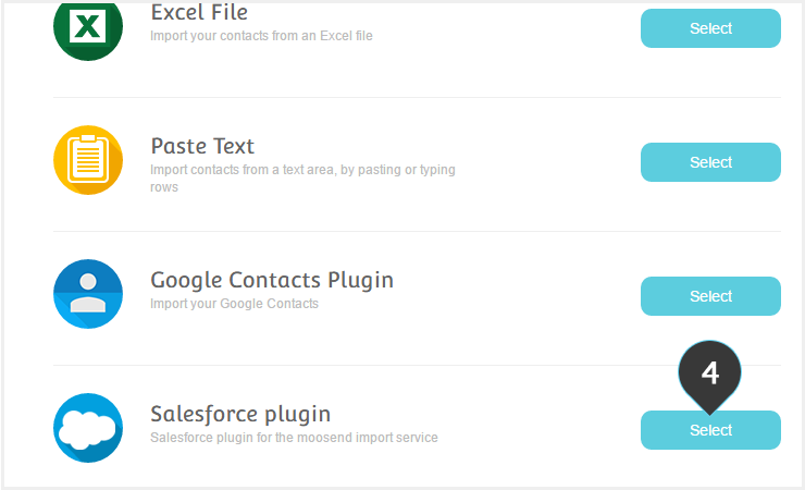 Import your salesforce contacts to a list Step 4 : Select the Salesforce plugin