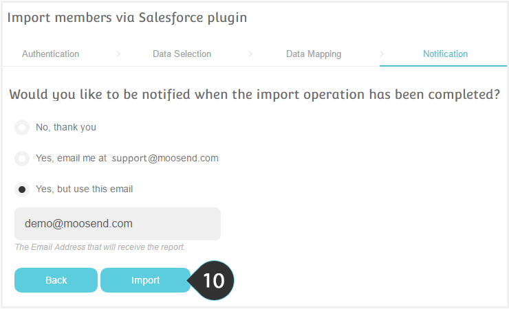 Import your salesforce contacts to a list Step 10 : Click on the Mailing Lists button to view the Reports