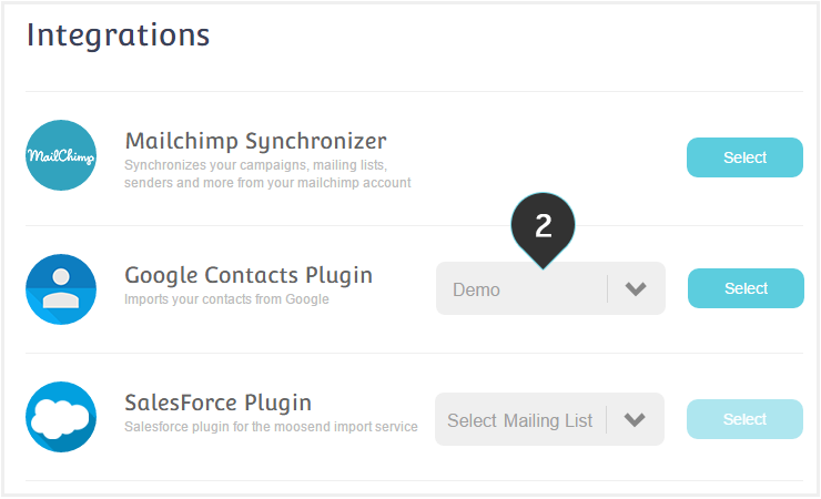 Integrations Google Plugin Step 2 : Select the mailing list you want to work on from the dropdown list