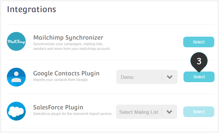 Integrations Google Plugin Step 3 : Click on Select