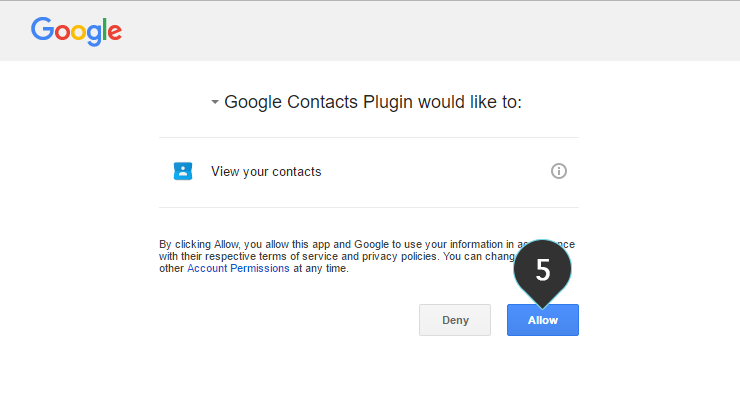 Integrations Google Plugin Step 5 : Fill in your credentials and click Allow
