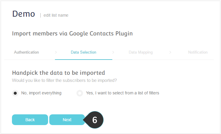 Integrations Google Plugin Step 6 : Select a way to filter your contacts
