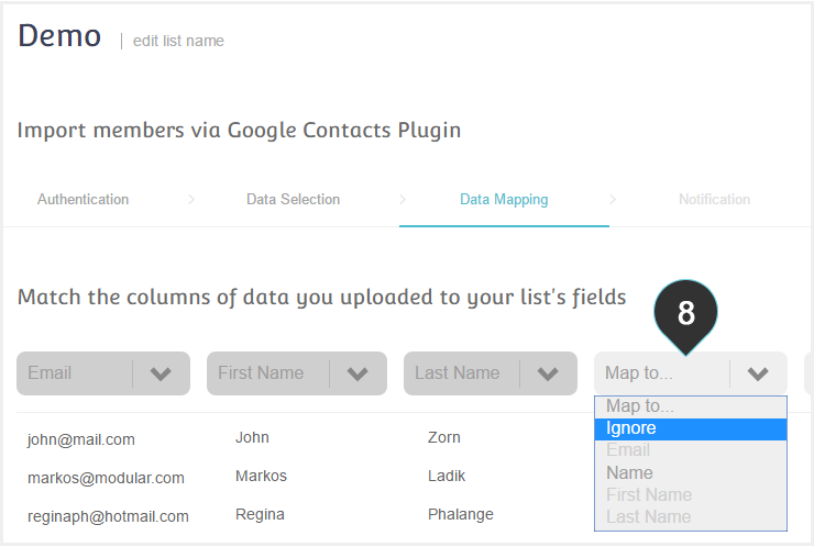 Integrations Google Plugin Step 8 : Map your column data to your list fields