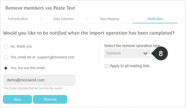 Remove list members using Text Copy Paste Step 8 : Select to remove or unsubscribe the members your just imported
