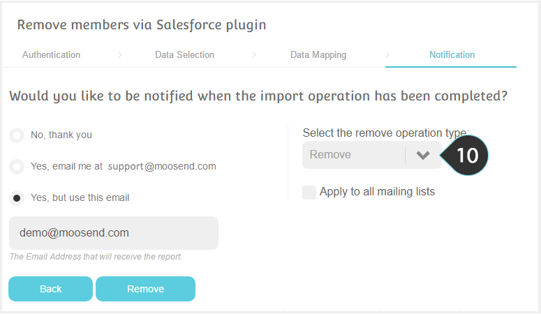 Remove Salesforce contacts Step 10 : Select to Remove or unsubscribe the members