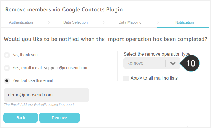 Remove your Google contacts from your Mailing lists Step 10 : Select whether to remove or unsubscribe the members