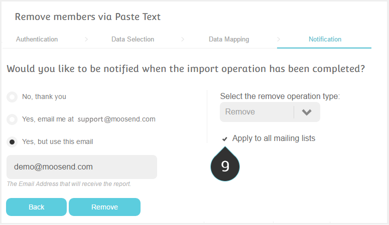 Remove list members using Text Copy Paste Step 9 : Check the option Apply to all mailing lists