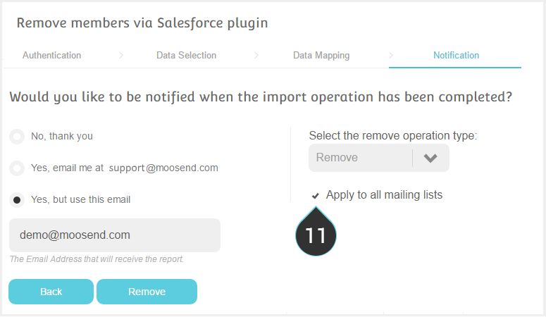 Remove Salesforce contacts Step 11 : If you want click Apply to all mailing lists