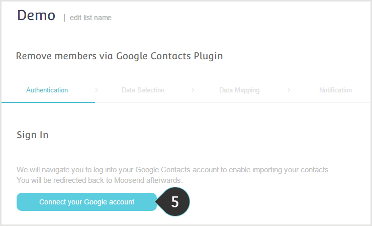 Remove your Google contacts from your Mailing lists Step 5 : Click on the button to connect your google account