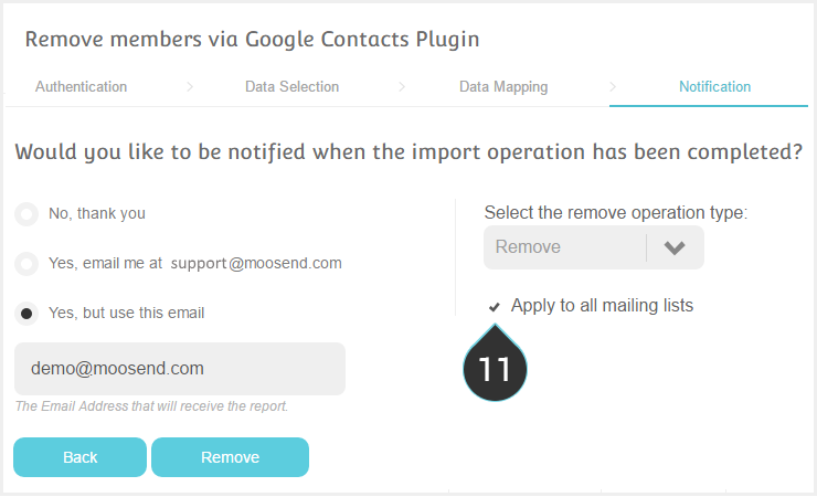 Remove your Google contacts from your Mailing lists Step 11 : Tick Apply to all mailing lists