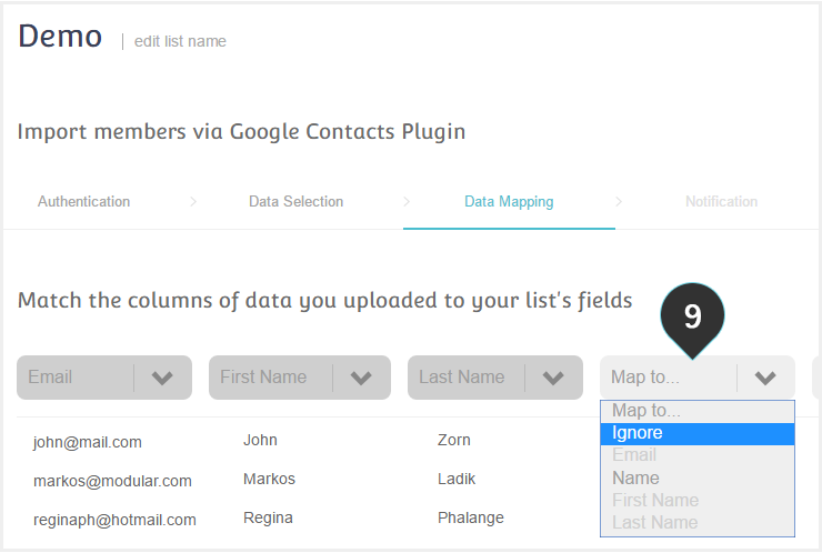 Import your Mailing List from your Google Account Step 9 : Map your data to your mailing list fields