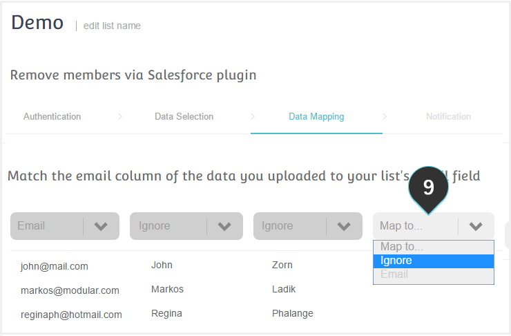 Remove Salesforce contacts Step 9 : Map your data to your fields