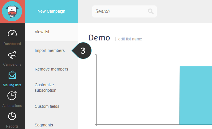 Import mailing list Copy Paste Step 3 : Click on the Import members option