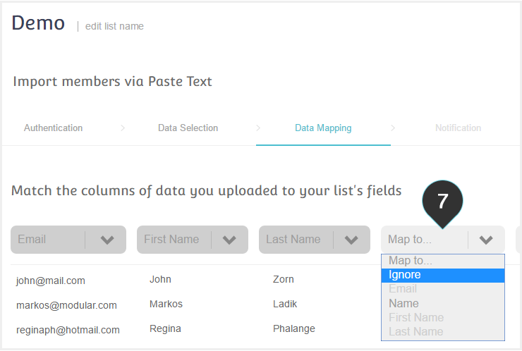 Import mailing list Copy Paste Step 7 :Map the data columns to the corresponding fields
